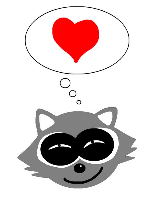 raccoon logo linkliebe weiss