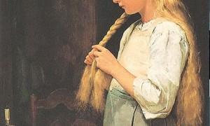 Mädchen flechtet Haare