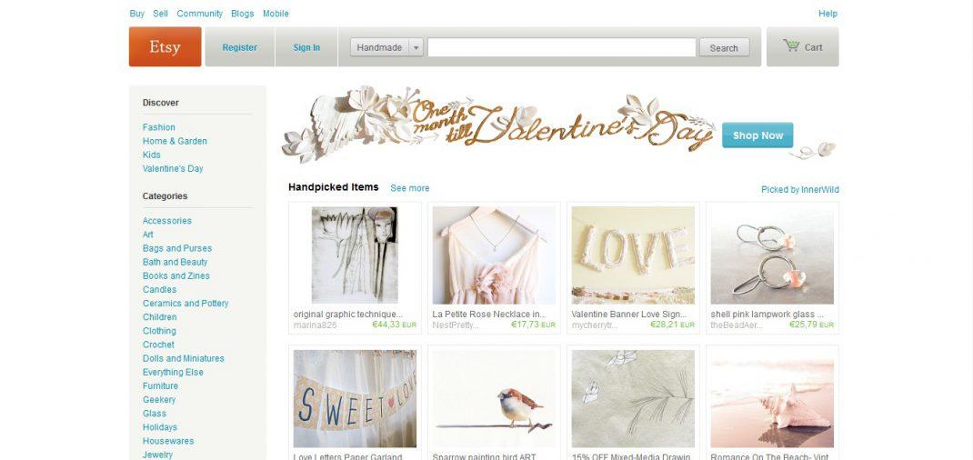 Startseite von etsy.com