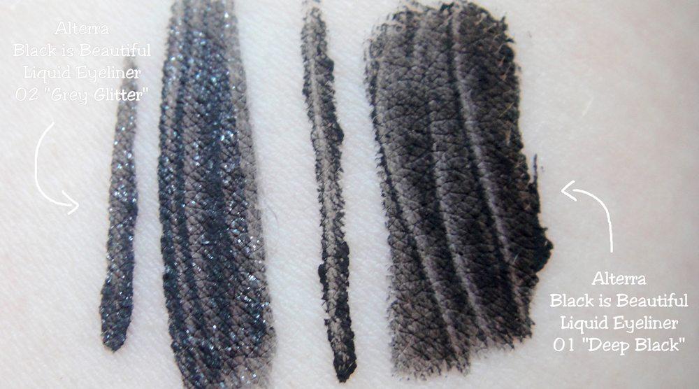 Alterra LE Black is Beautiful vegan Liquid Eyeliner Deep Black Grey Glitter Swatch