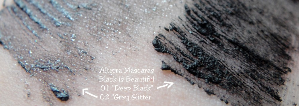 Alterra LE Black is Beautiful vegan Mascara Grey Glitter Deep Black Swatch