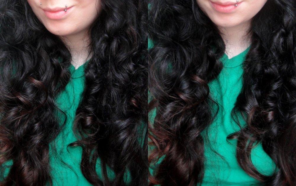 Locken schwarze Haare mit rot