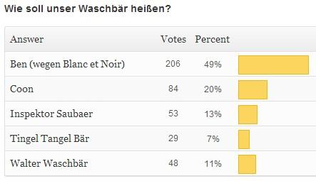 Ben Waschbär Name Abstimmung