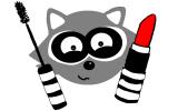 Raccoon mascara lippenstift weiss