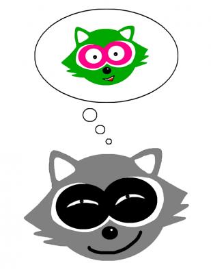 raccoon logo denkblase weiss Haare färben waschbär ben vegan