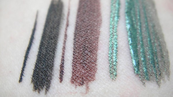 elf liquid eyeliner vegan black forest green plum swatch