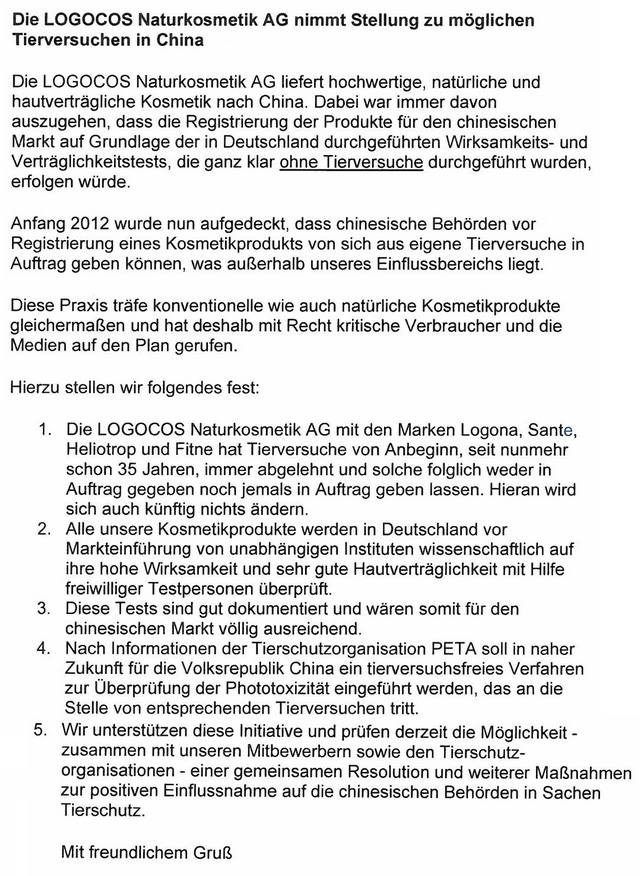 logocos statement tierversuche china