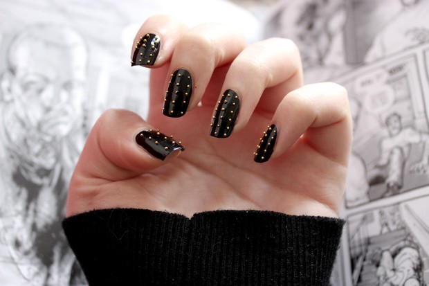 nailart nieten vegan naildesign nageldesign black schwarz eternal p2 beauty studded 3