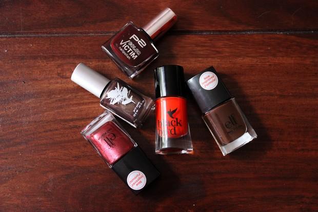 vegan leaf autumn nail polish herbst nagellack kosmetik brown orange red cruelty free black bird p2 elf priti nyc (1)