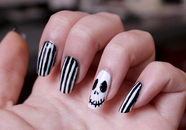 skeleton skelett nails nailart naildesign nageldesign halloween black white vegan nightmare before christmas p2 (1)