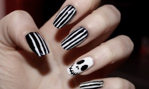 skeleton skelett nails nailart naildesign nageldesign halloween black white vegan nightmare before christmas p2 (2)