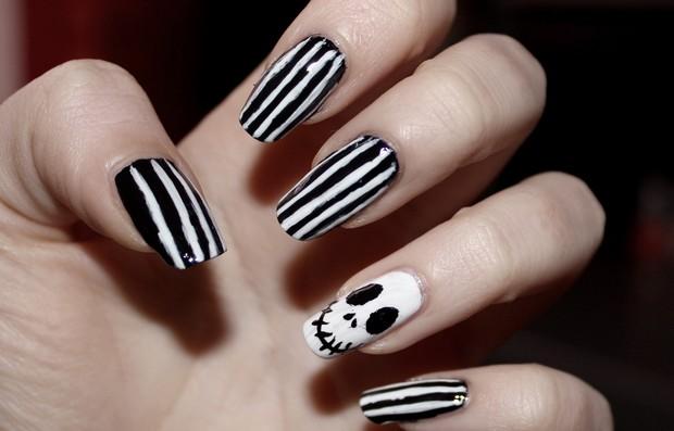 skeleton skelett nails nailart naildesign nageldesign halloween black white vegan nightmare before christmas p2 (2)