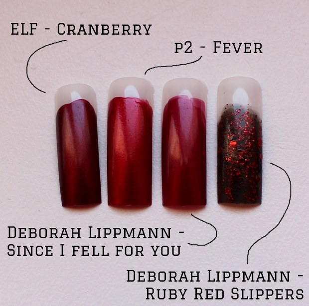 Deborah Lippmann Christmas Weihnachten vegan red rot ruby red slippers since i fell for you elf cranberry p2 fever swatch dupe