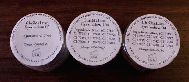 chrimaluxe minerals vegan haul raubzug einkauf kosmetik inci inhaltsstoffe lidschatten