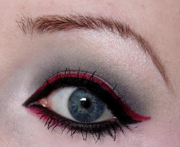 amu make up winter look outlook 2014 magi mania kosmetik vegan rot red black schwarz blue eyes 1