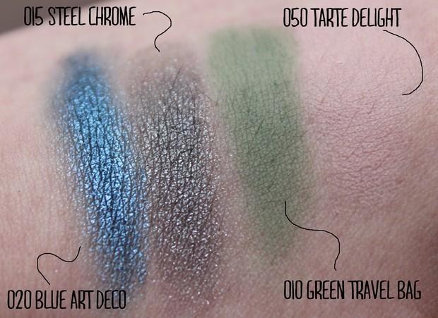 p2 intensive artists blue art deco ultra matte primer green travel bag  high chrome steel chrome color up tarte delight vegan beauty blog swatch
