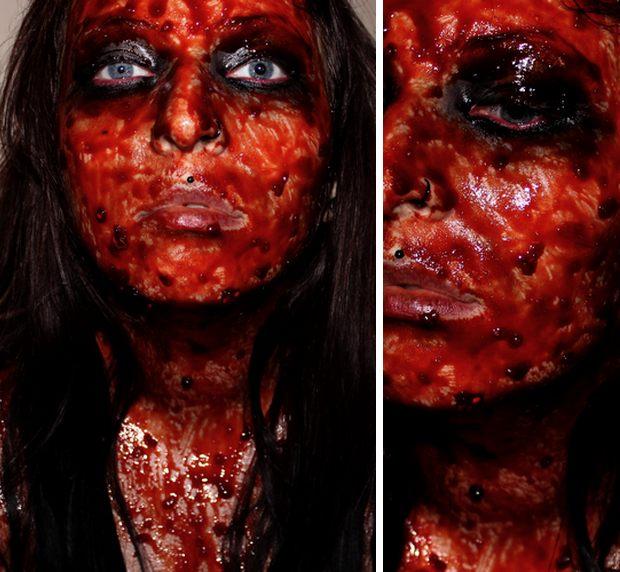 halloween vegan zombie diy kostüm quick and easy leicht und schnell rote beete blood blut 7