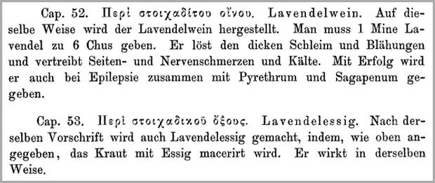 Dioskurides Arzneimittellehre  Seite 498 Lavendel kräuter haare vegan kosmetik zitat