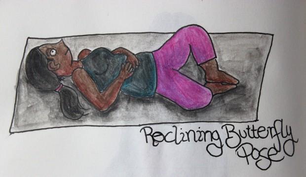 Pilates yoga vegan kosmetik sport menstruation periode pms Bauchkrämpfe hello aunt irma reclining butterfly pose