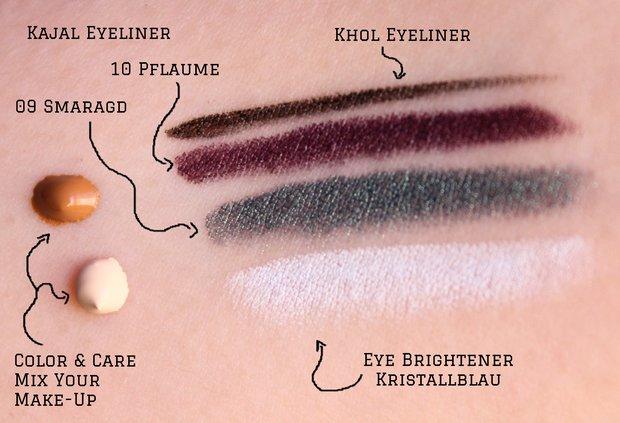Alverde vegan Sortiment Herbst 2015 Kajal Khol Eyeliner Eye Brightener Kristallblau Pflaume Smaragd Color Care Mix your make up Swatch