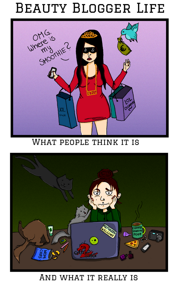 Beauty Blogger Life Cartoon what people think it is and what it really is Blog vegan Kosmetik