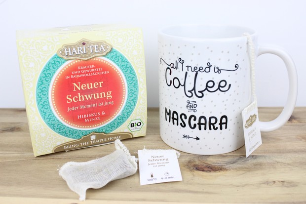 hari tea tee minze hibiskus vegan bio kramer schupp kassel tasse all you need is coffee and mascara