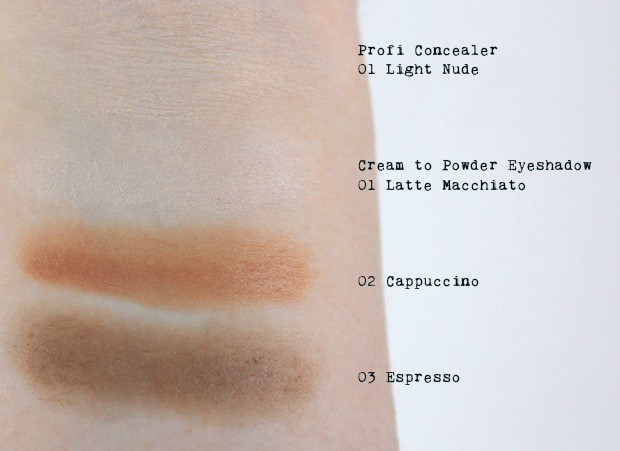 Alterra Nude Perfection Rossmann limitierte Edition LE vegan Naturkosmetik Swatch Swatches Lidschatten cream to powder concealer 1