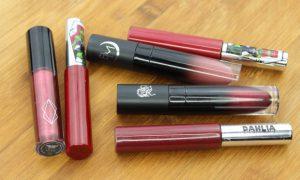 Rote Liquid Lipsticks vegan Pretty Zombie Cosmetics Black Moon Cosmetics Lethal Cosmetics Red Indie