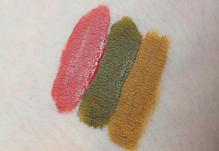 Black-Moon-Cosmetics-Autumn-Trio-limited-harvest-cider-hazel-swatch-vegan-cruelty-free-liquid-lipstick-grün-rot-gelb