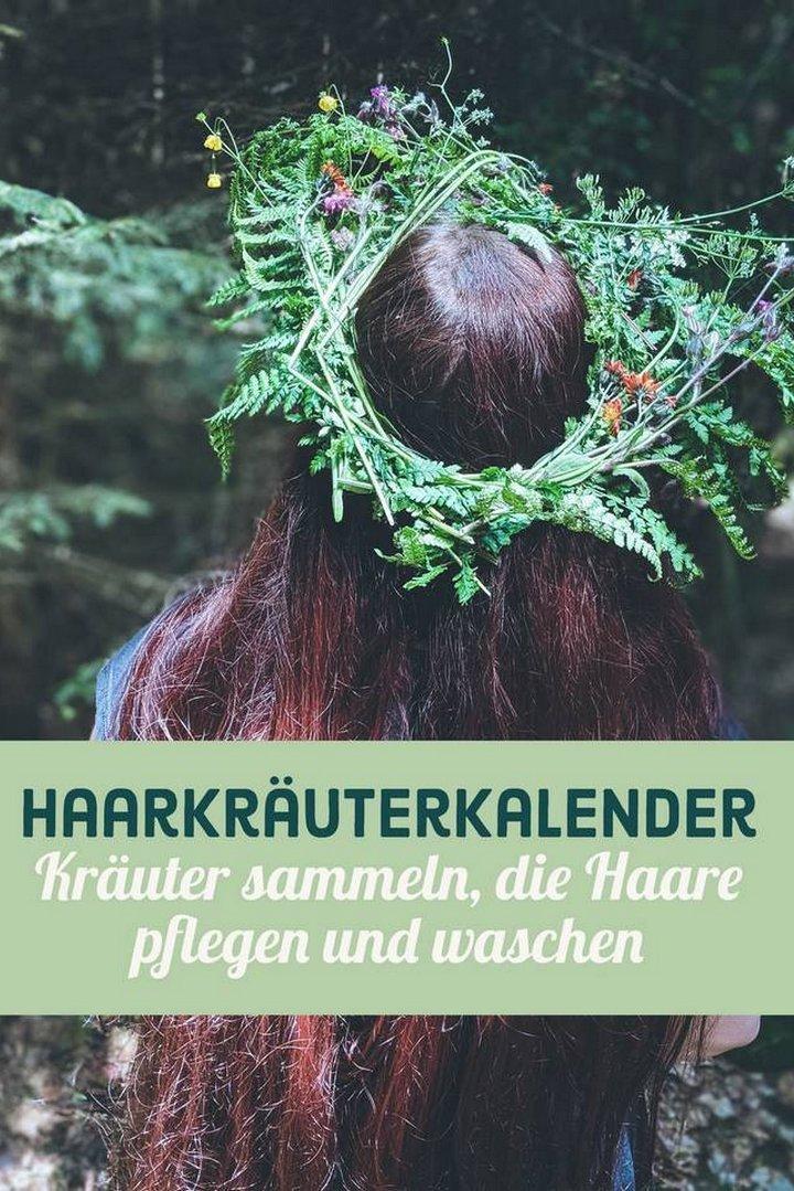 Haarkräuterkalender Haarkräuter Kräuter sammeln Haarpflege Haare waschen mit Pflanzen Wildkräuter Sammelkalender vegan
